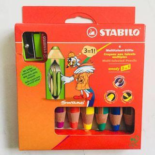 Stabilo Woody 3 In 1 Colour Pencils Wax Crayons Water Colours Box of 10