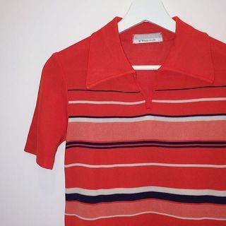 🚚 Coordinate ✼紅色條紋針織衫✼ V領半開襟 翻領 紅白藍 合身短袖 早期80s 90s 日本古着Vintage