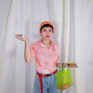 🚚 Deep ✼橘色幾何短袖上衣✼ 白橘斑馬迷幻菱鏡圖騰 disco 合身 半開襟POLO衫 90s 日本古着Vintage