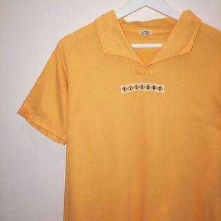 🚚 Ellesse ✼橙色刺繡針織上衣✼ 純棉 L碼 義大利愛力艾思 素面 V領開襟 短袖休閒T恤 日本古着Vintage
