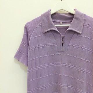 🚚 ✼淺紫V領針織衫✼ 日本製 盤扣 開襟POLO衫 素面格紋 寬鬆短袖 日本古着Vintage
