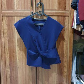 Navy blouse lilit scuba tebal