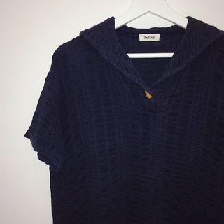 🚚 T&four ✼深藍色竹節扣上衣✼ 純棉 立體紋理 小V領 後側水手翻領 寬鬆短袖 日本古着Vintage