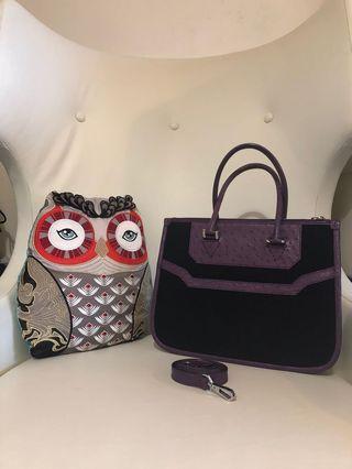 KP Ostrich Canvas handbag 帆布拼真皮手袋(可手挽,有長帶)