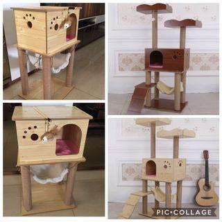 (New!) wood cat tree scratch pole house bed