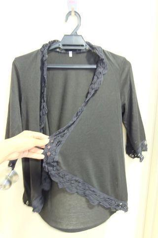 Plain black renda open cardi