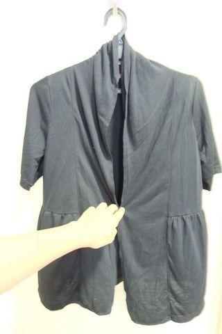 Pocket plain black open cardi