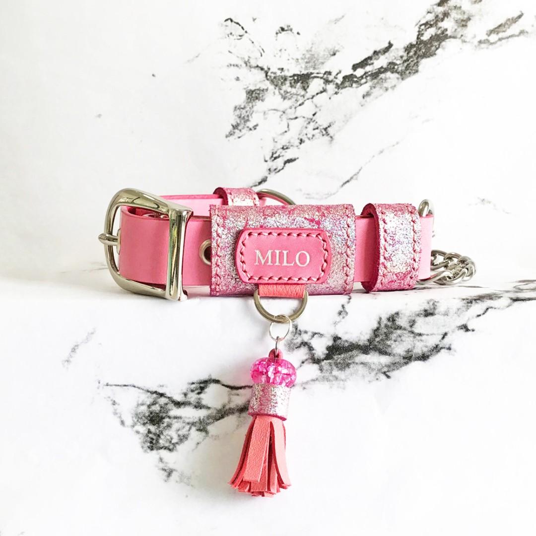 2 5cm Stardust Pink Leather Adjustable Martingale Dog Collar Personalised  Name Custom Monogram Designer Dog Collar Avaloncraft