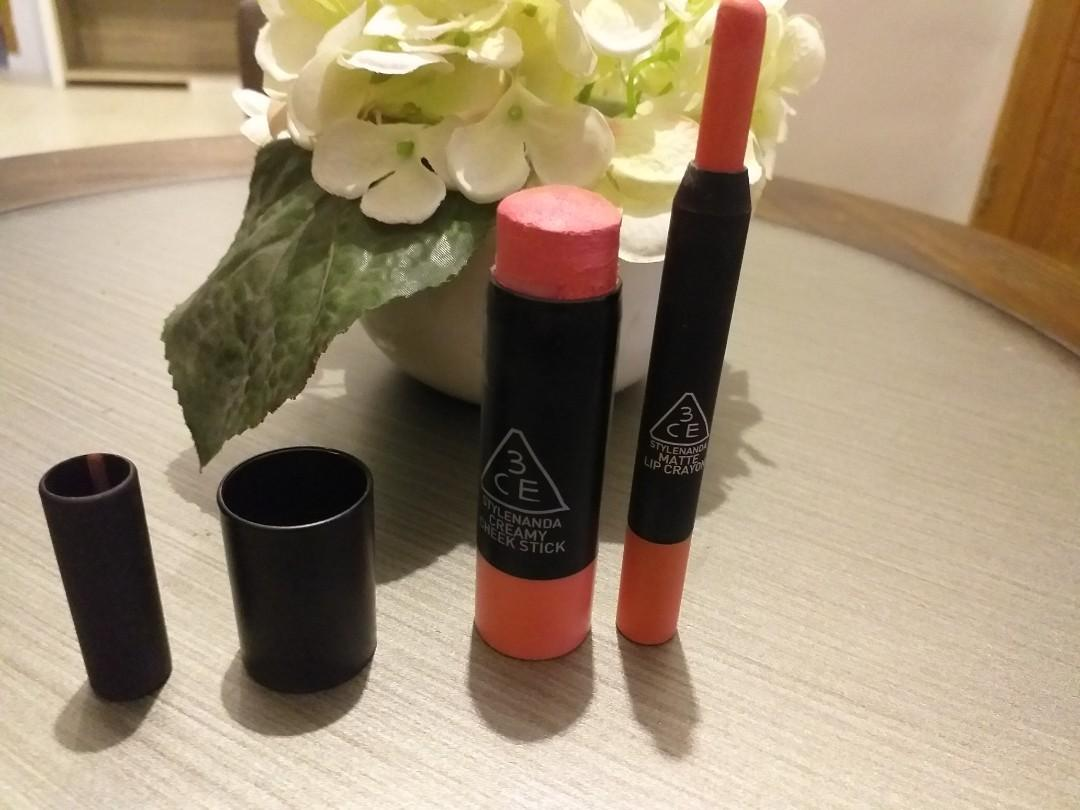 3ce blush and lip crayon (two pieces)