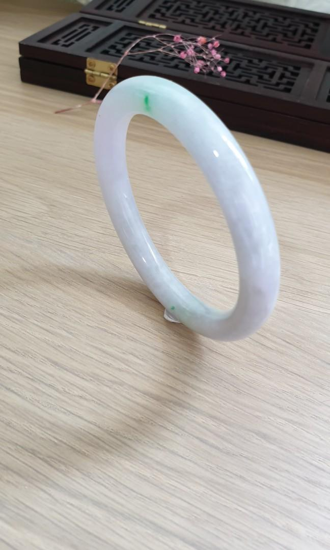 55mm Burmese Type A Icy Translucent Green Patch with Faint Lavender Princess round Jadeite Jade Bangle