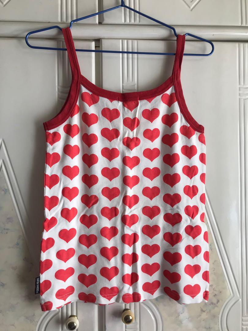 日本品牌 Superlovers 紅色心心吊帶背心