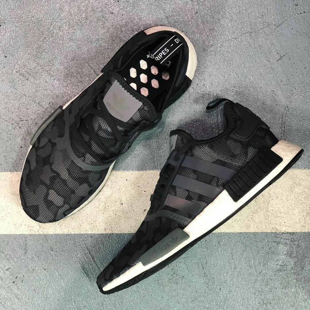 Adidas NMD R1 Camo Black, Men's Fashion