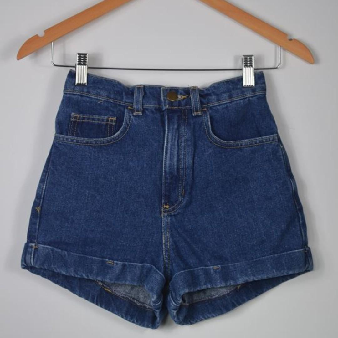 American Apparel high waisted denim shorts - US size 25 (AU size 6)