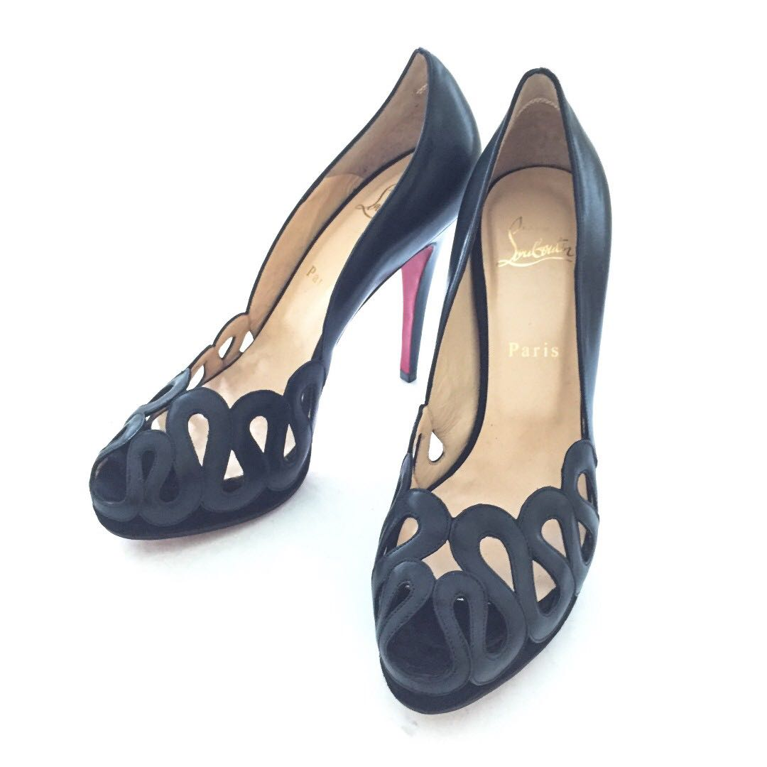 new styles ac564 08e06 Auth CHRISTIAN LOUBOUTIN Black Cutout Leather Peeptoe Heels EU 38 1/2 EUC
