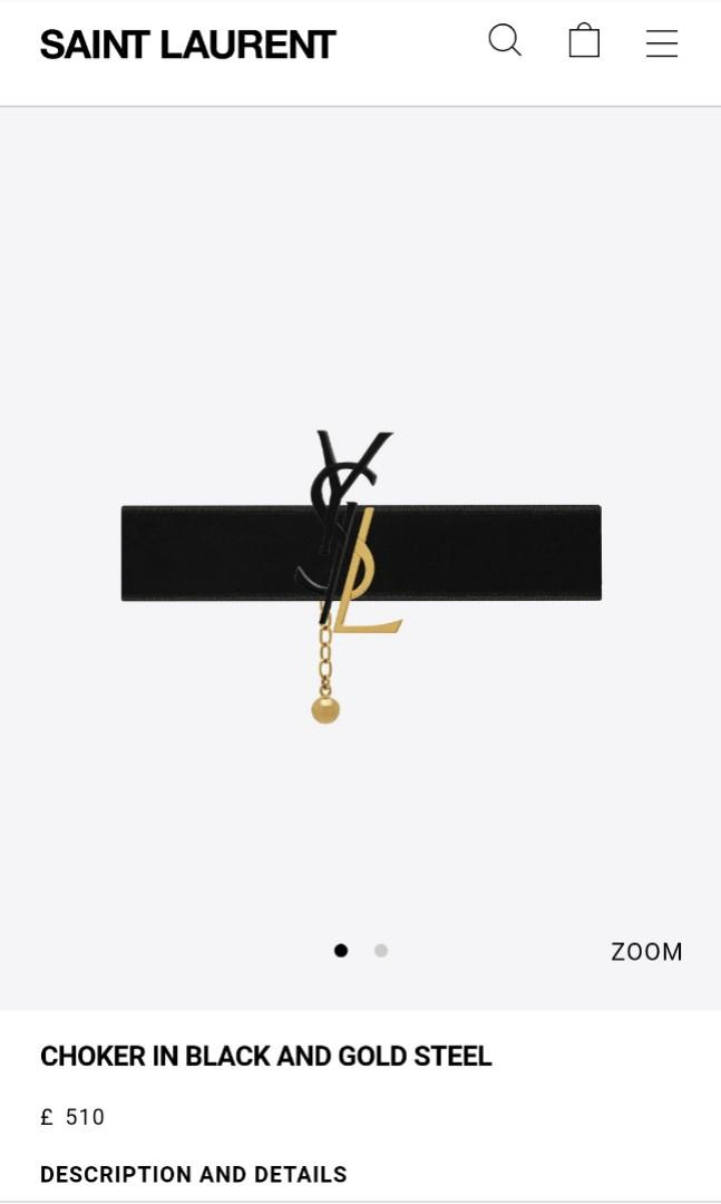 Authentic Saint Laurent CHOKER IN BLACK AND GOLD STEEL YSL