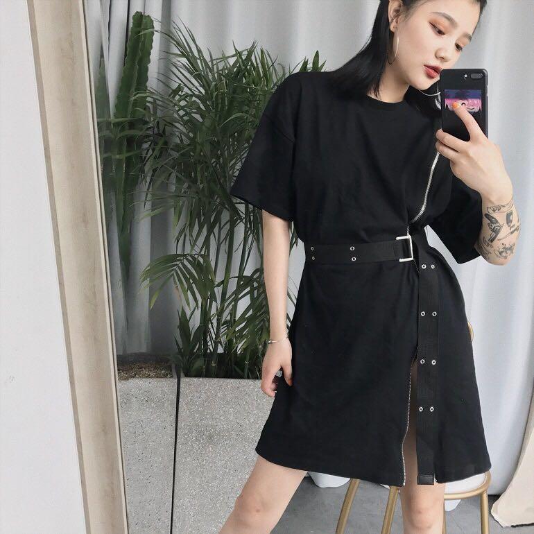 zip t shirt dress