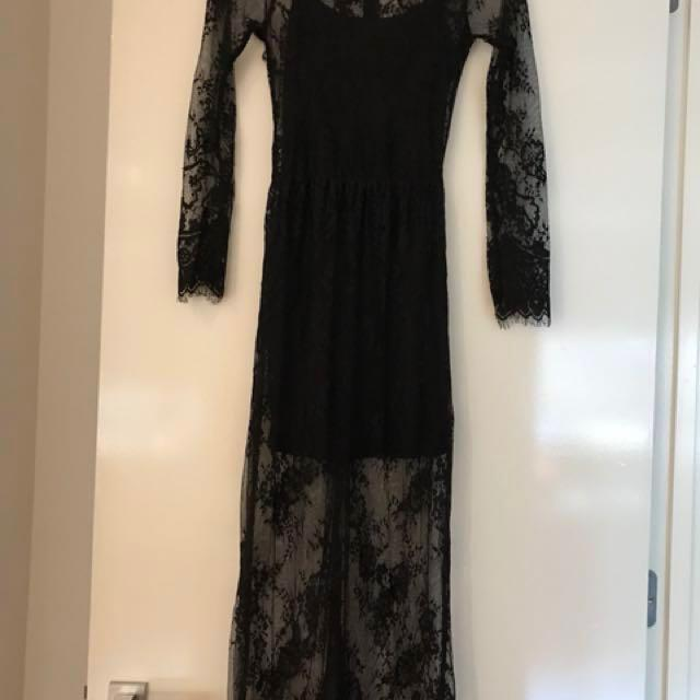Black lace long sleeve dress with short black slip size 8/10