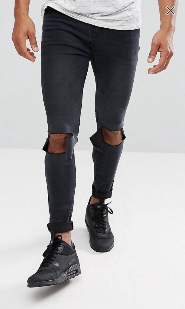 BoohooMan super skinny jeans with ripped knees size 30/32