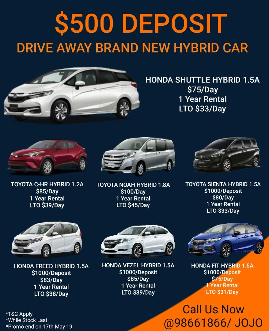 Cheapest Brand New Car Hybrid Car @$500 Deposit