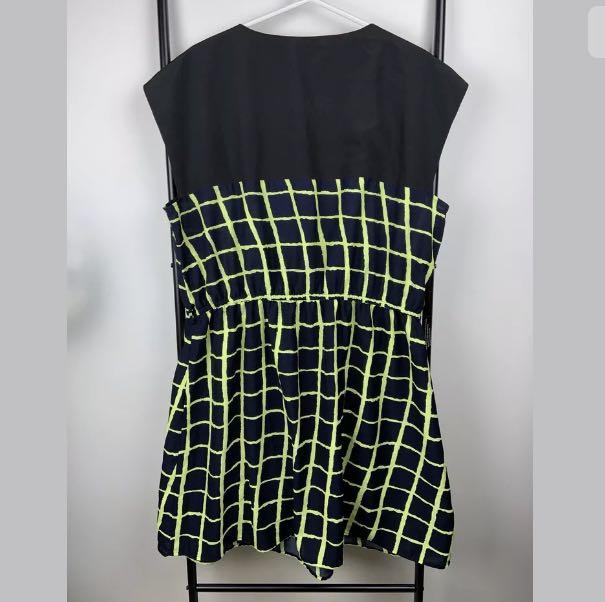 City Chic L/20 black yellow neon plaid check women short dress plus size casual