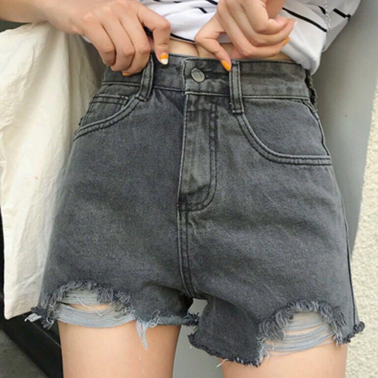 🔥Denim Ripped Casual Ulzzang Shorts - Black