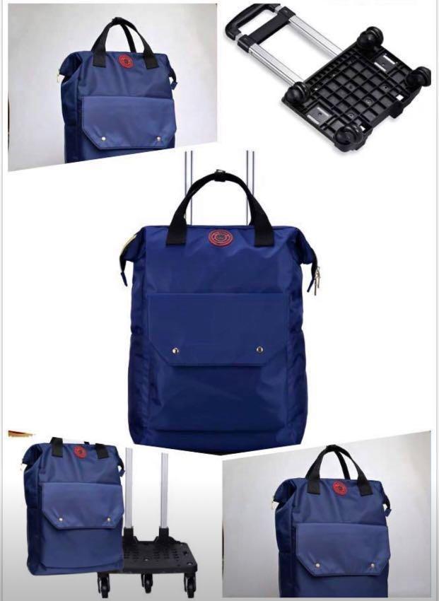 Free 🚚: Big Navy blue Luggage Travel Backpack Hand Luggage Bag Universal Wheel Trolley Case Detachable