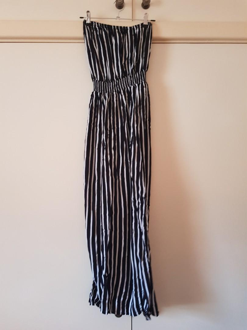 Glassons Black/White Striped Strapless Wide Leg Jumpsuit with Shirred Waist SiZe 6/XS