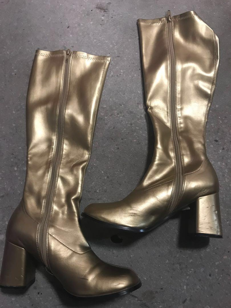 Gold Gogo Boots