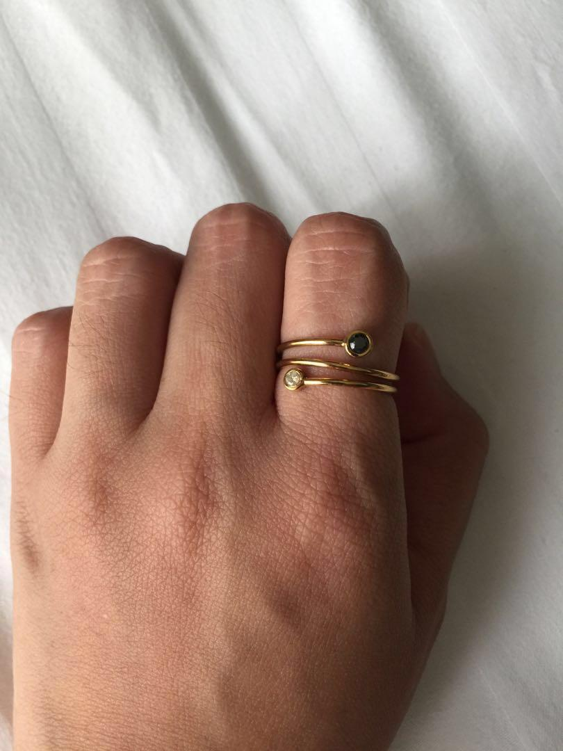 Gold plated ring with diamond