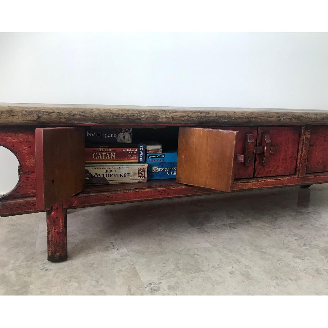 GORGEOUS ANTIQUE WOOD TABLE / LOW SIDEBOARD / TV CONSOLE
