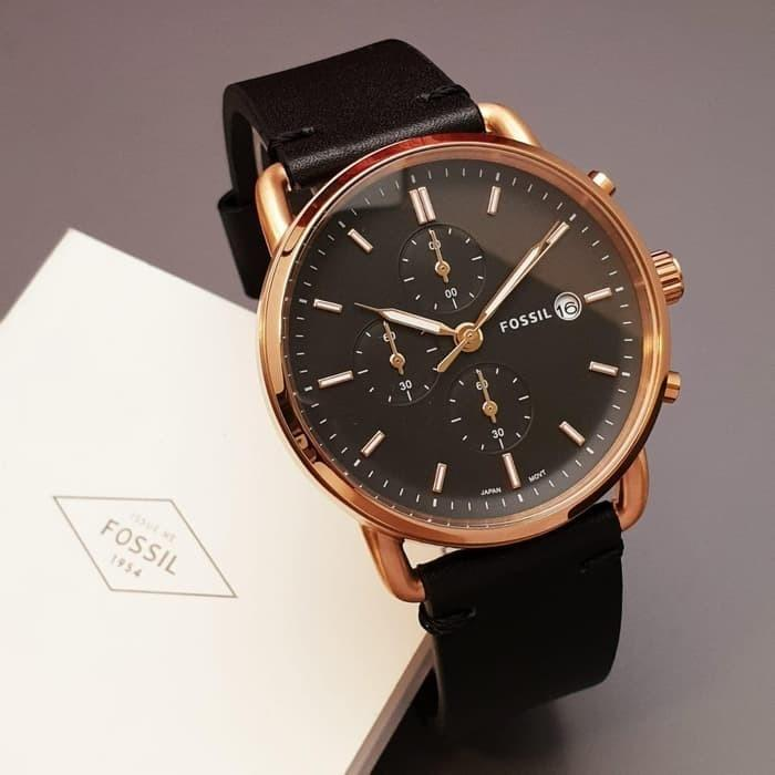 Jam Tangan Pria Merek Fossil Leather Body Black Original 4.5cm
