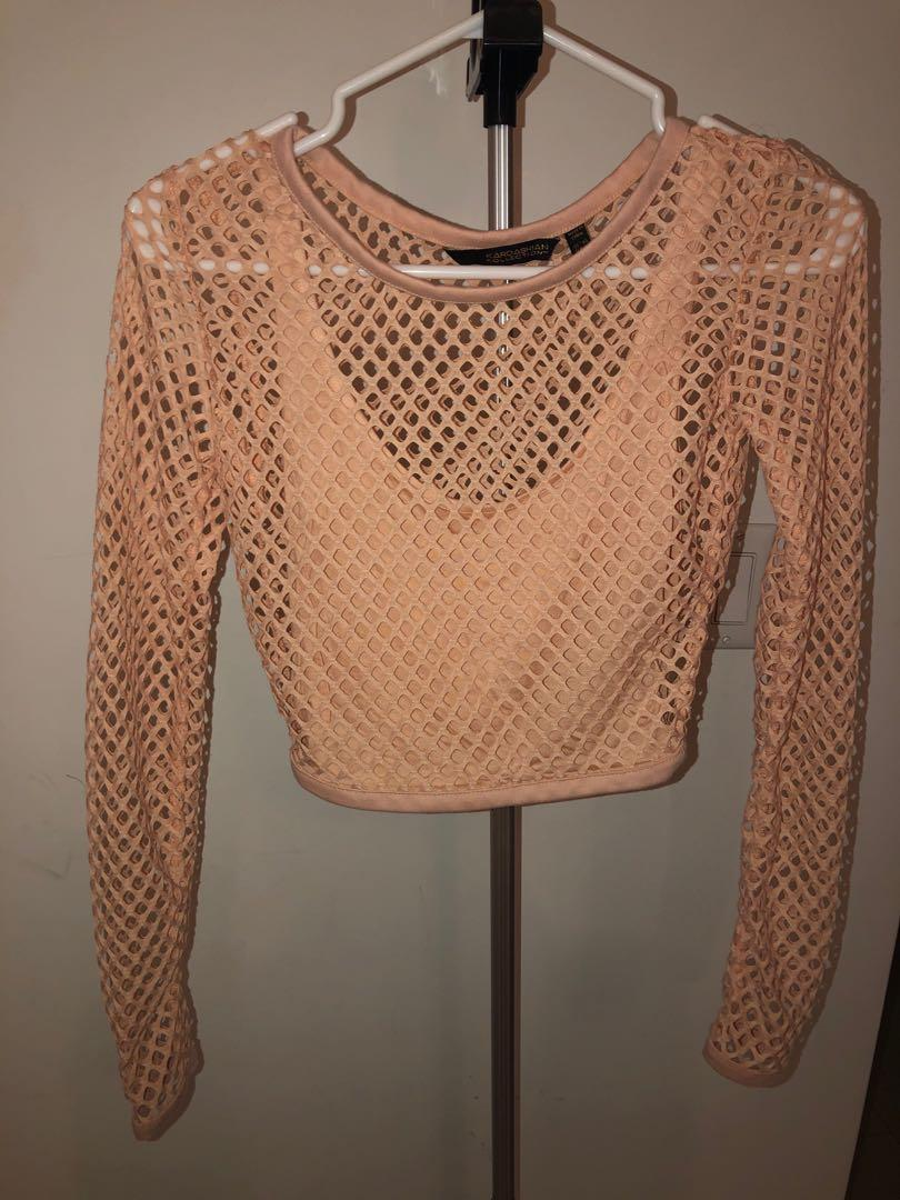 Kardashian Kollection- Nude/Blush Fishnet Crop Top