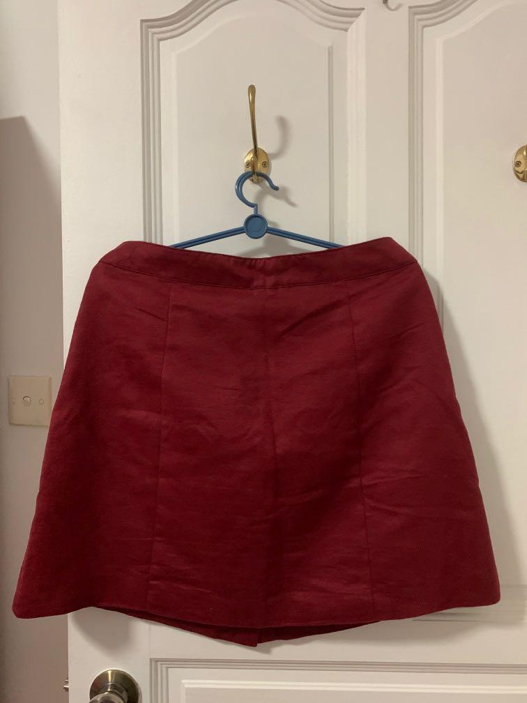 Maroon Button Down Skirt