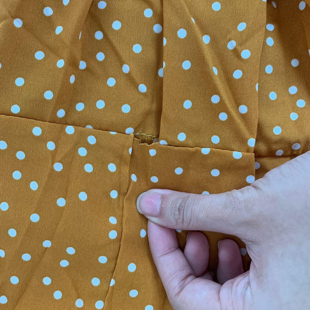 mustard polka dot dress