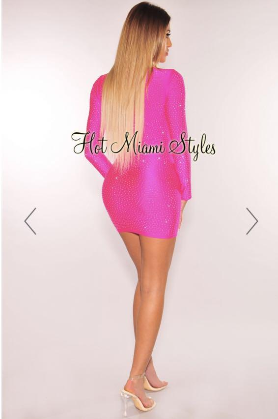 Neon Pink Silver Rhinestone Cut Out Long Sleeves Dress