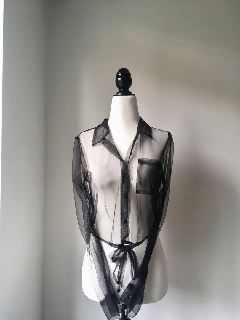 NWOT Mesh or organza like material black tie front blouse size medium M Boutique by Hers and Mine