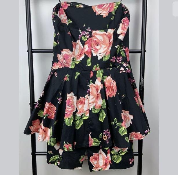 Portmans sz 8 black pink floral strapless women peplum short dress party date