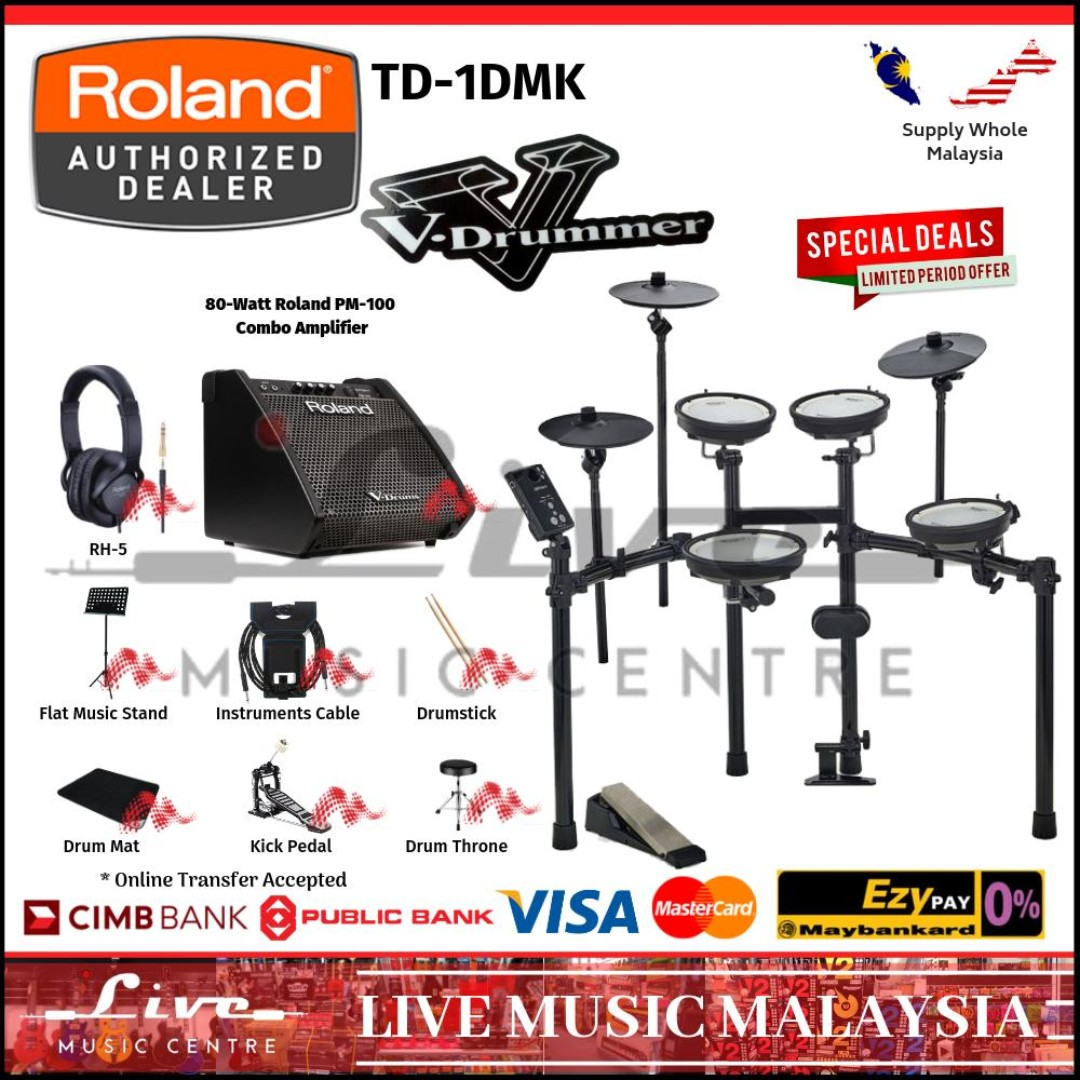 Roland TD-1DMK *FULLY ROLAND* Electronic Drum Digital Drum Set with Roland  PM100, RH5, Cable, Music Stand, Drum Throne (TD1DMK)