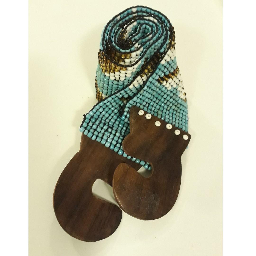 Sky blue elastic, beaded belt