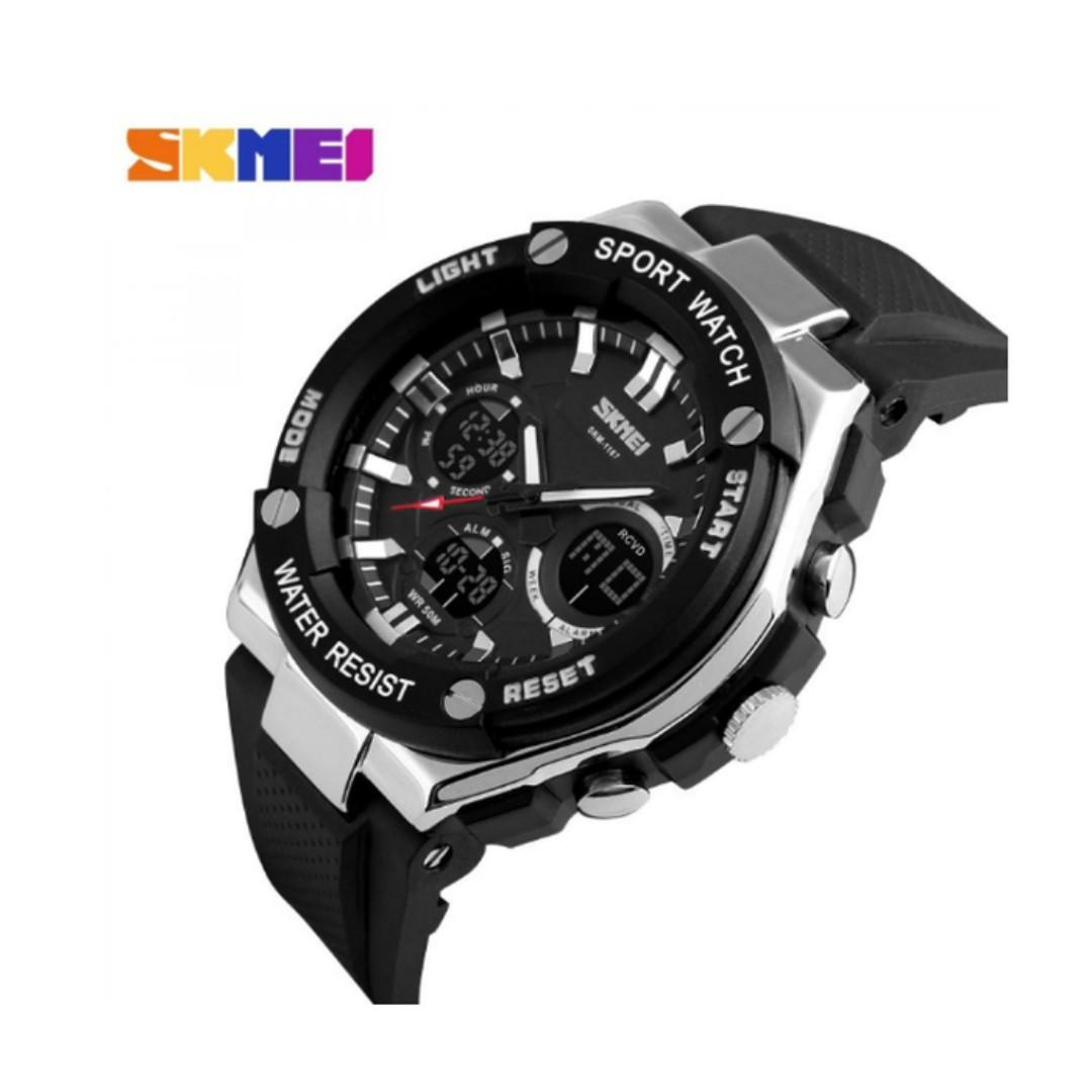 Trend Jam Tangan Pria SKMEI Dual Time Men Sport LED Original