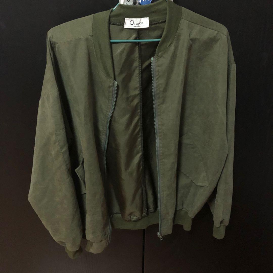 ulzzang army green bomber jacket