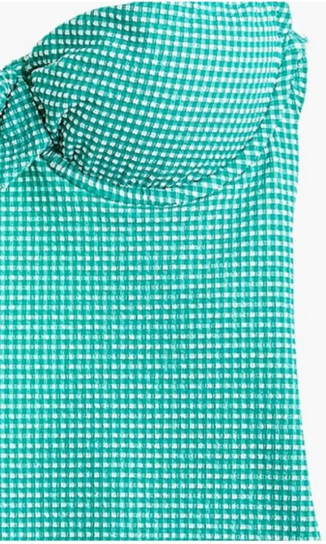 Underwire scoopback one-piece swimsuit in tiny green gingham