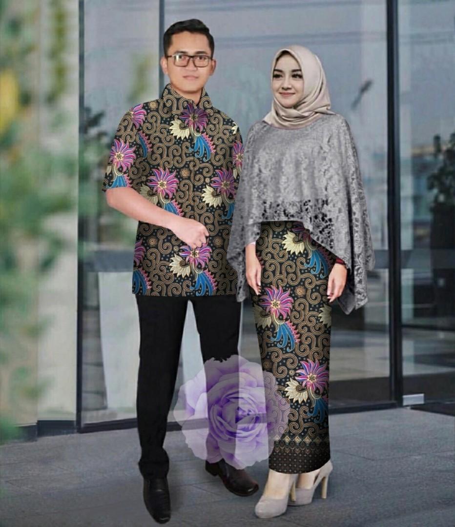 Vs CP RAMASHINTA ABU l atasan fashion baju brukat blouse brukat rok batik setelan kebaya couple wanita