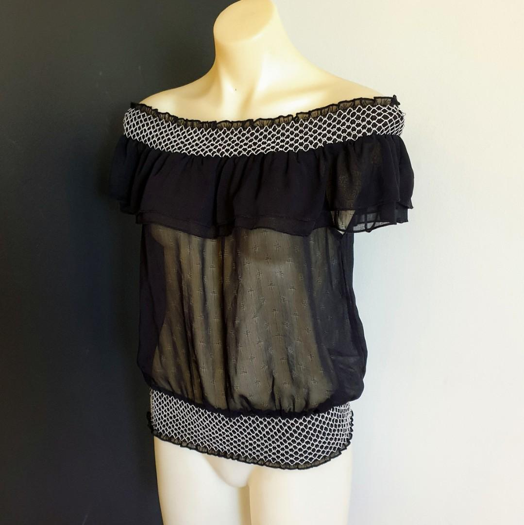 Women's size 10 'TATTOO' Gorgeous sheer black off shoulder top with white stitching  - AS NEW