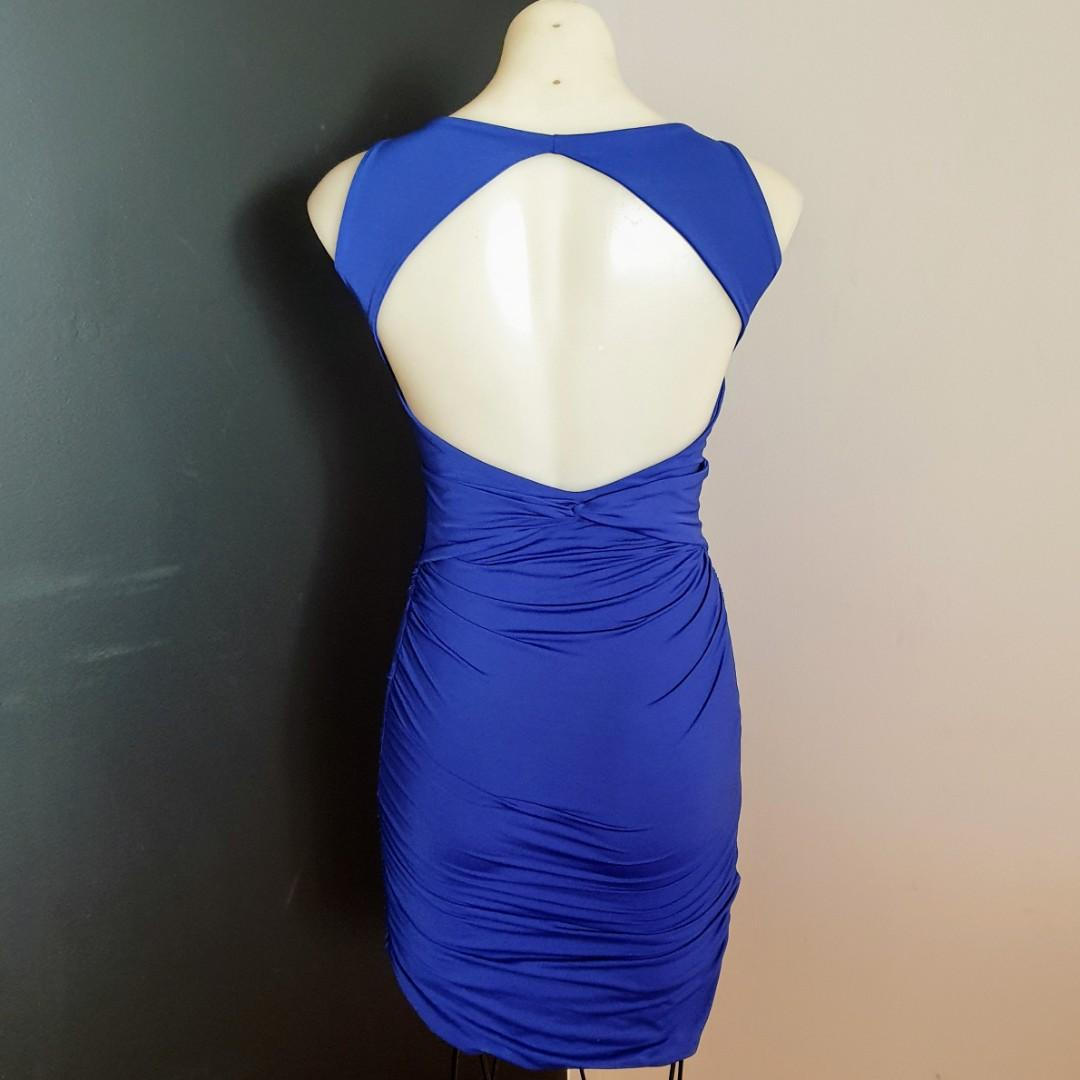 Women's size 2 'KOOKAÏ' Gorgeous royal blue bodycon dress with exposed back - AS NEW