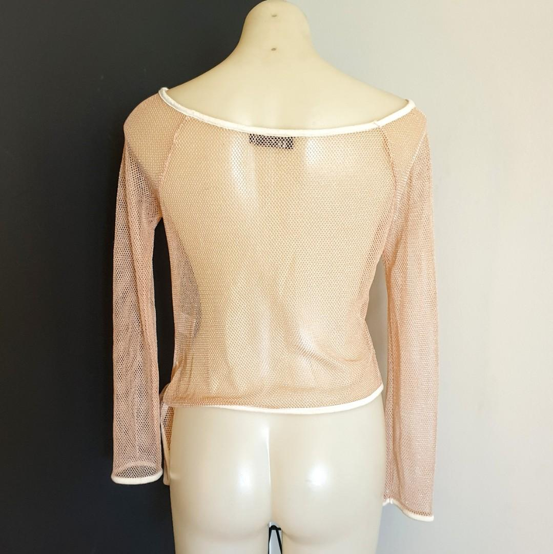 Women's size M/L 'I TOO' Gorgeous bronze gold mesh long sleeved top - AS  NEW