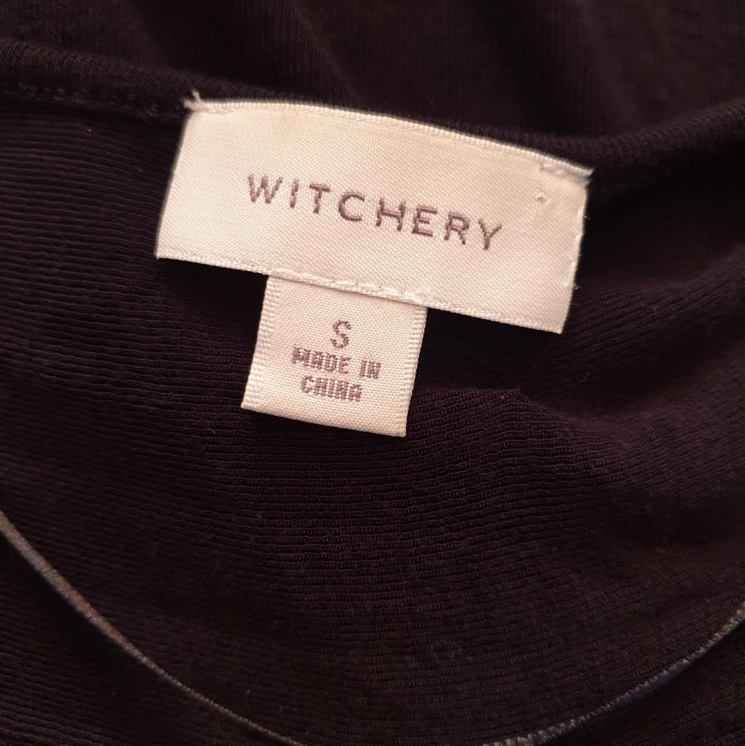 Women's size S 'WITCHERY' Gorgeous black sleeveless long top with sheer hem - AS NEW