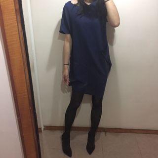 Navy blue baggy dress 深藍布袋連身裙