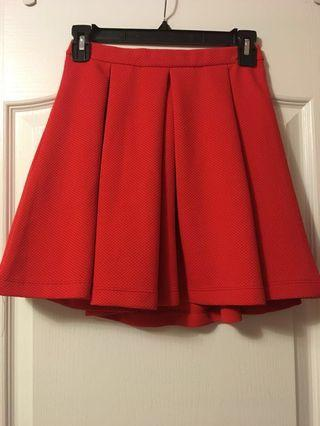 Red Pleated Skirt - Dynamite XS