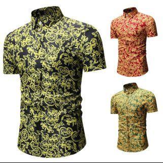 Men'S Short Sleeve Button Down Floral Print Shirts Black M